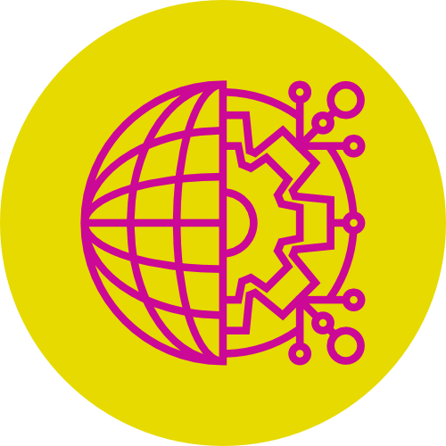 The IDL logo: on a yellow background, a magenta line drawing of a globe, half exposed to show mechanical workings underneath.