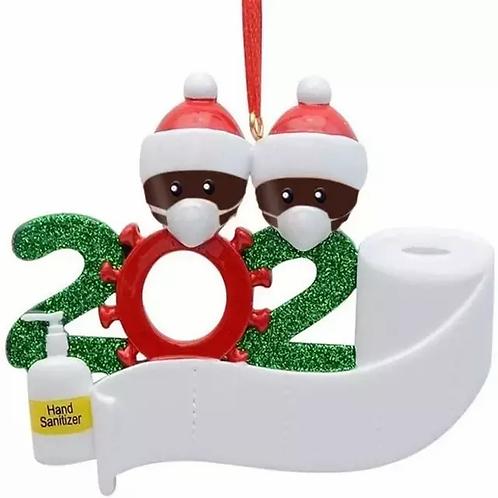 2020 Hand Sanitizer Ornament (2 children-brown)