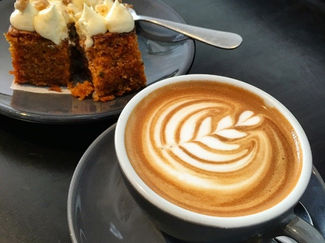 Cappuccino and carrot cake
