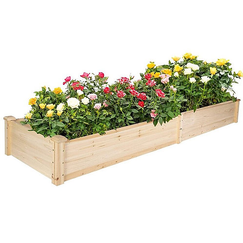 Raised Garden Bed Wooden Planter 2 Separate Planting Space  7.5 Feet