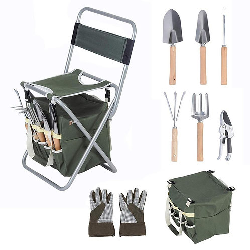 Sturdy Foldable Stool With Detachable 9  Piece Garden Tool Set Wood Handles