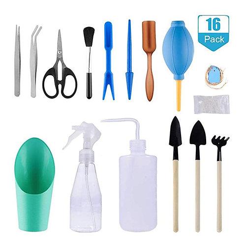 16pcs Mini Gardening  Tools Water Sprayer Water Can Soil Shovel Potted Pruning