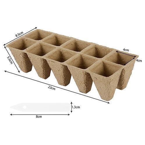 20pcs 10-Grid Seedling Starter Tray Biodegradable