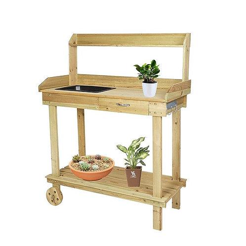 Wood Potting  Work Station With Removable Sink Drawer Shelves Hooks on Wheels
