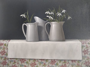 snowdrops and small jugs.jpg