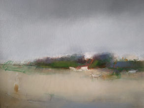 """Cows in the quiet II, Oil on Board 20"""" x"""