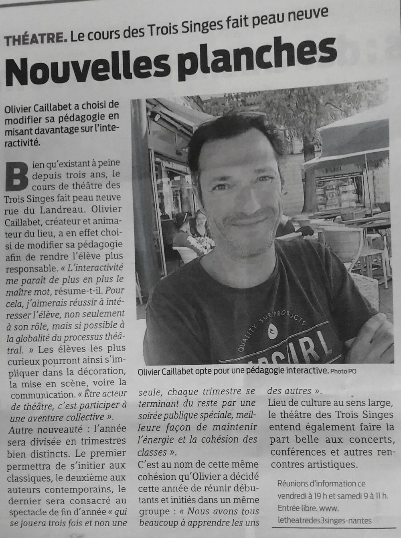 Olivier Caillabet - Directeur du Théâtre des 3 Singes