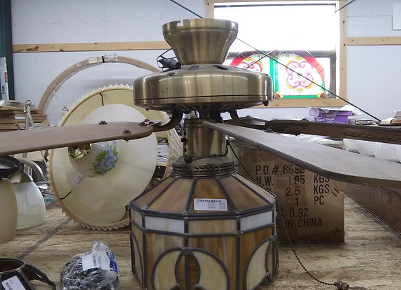 Baraboo - Ceiling Fan with Stained glass light