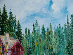 Forest oil painting detail