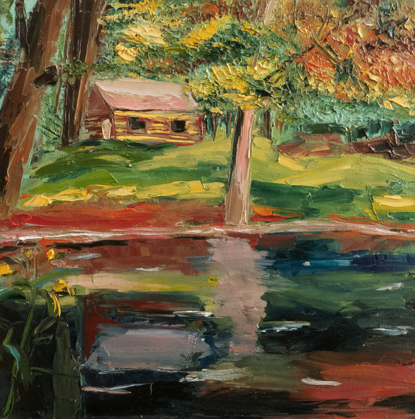 Lake forest impasto oil painting