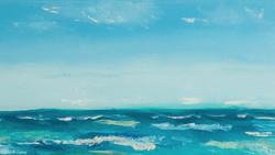 Ocean waves seascape painting detail