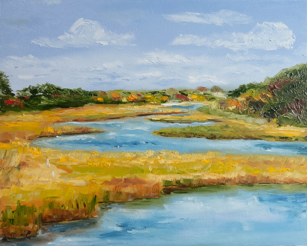 Field landscape painting