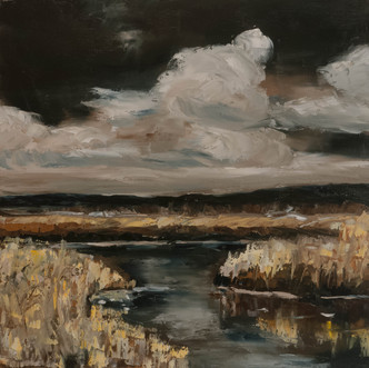 Dark sky landscape oil painting
