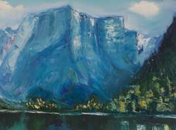 Mountains lake oil painting detail