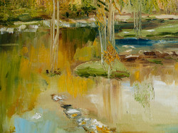 Sunny forest landscape oil painting detail