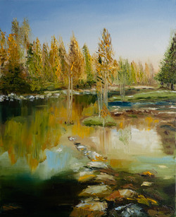 Sunny forest landscape oil painting