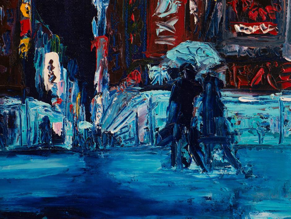Night cisyscape impasto oil painting