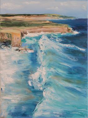 Ocean seascape waves oil painting