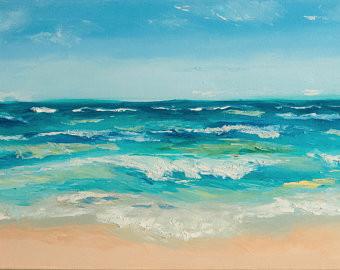 Ocean wave oil painting