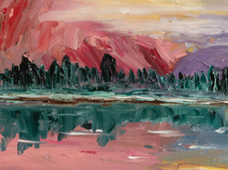 Mountains forest landscape oil painting detail