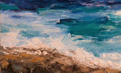 Abstract seascape oil painting detail