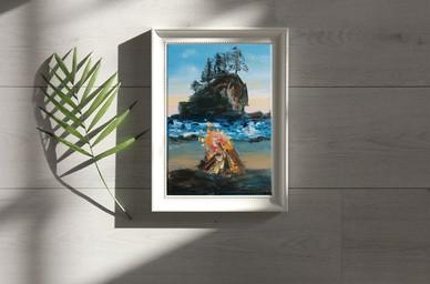 Seascape bonfire oil painting