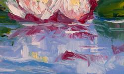 Nenuphars lake oil painting detail