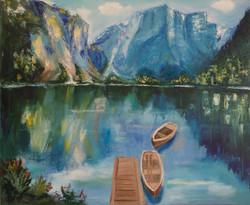 Mountains lake oil painting