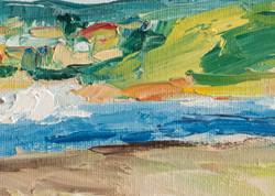 Seascape oil painting detail
