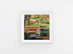 Forest lake impasto painting