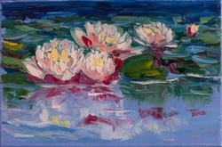 Nenuphars lake oil painting