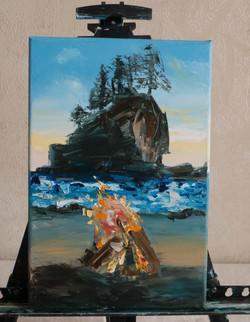 Seascape ocean impasto painting