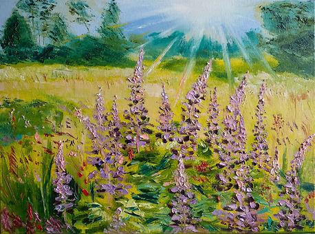 Wildflower landscape painting