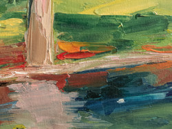 Forest lake impasto painting detail