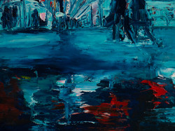 Night cityscape oil painting detail