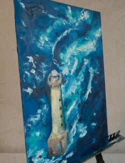 Lighthouse seascape ocean wave painting