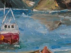 Ship ocean seascape oil painting detail