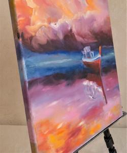 Ship seascape oil painting detail