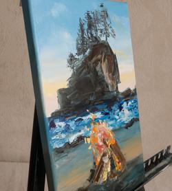 Seascape ocean impasto painting detailSeascape ocean impasto painting detail