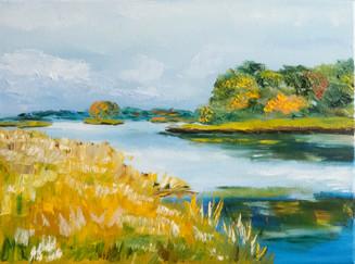 Lake landscape oil painting
