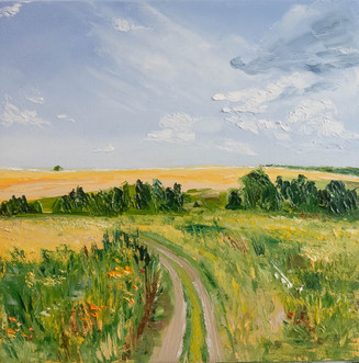 Original field forest oil painting
