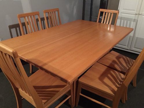 Mission Oak Butcher Block Dining Table And 6 Chair Movingsale
