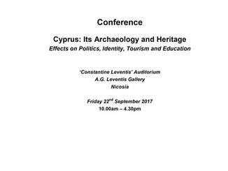 Conference participation - 'Cyprus: Its Archaeology and Heritage'
