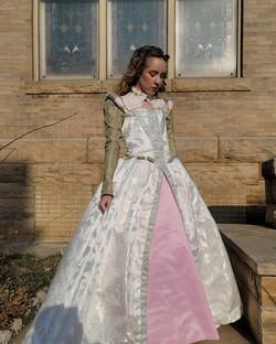 Elizabethan gown constructed from jacquard, silk dupioni, taffeta, and satin fabrics