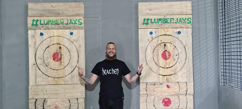 lumberjaxs, trick shot, axe, throwing, m