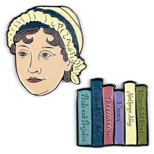 Jane Austen & Books Pins