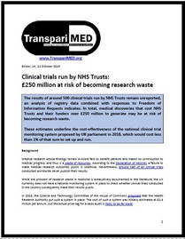 Clinical trials run by NHS Trusts: £250 million at risk of becoming research waste
