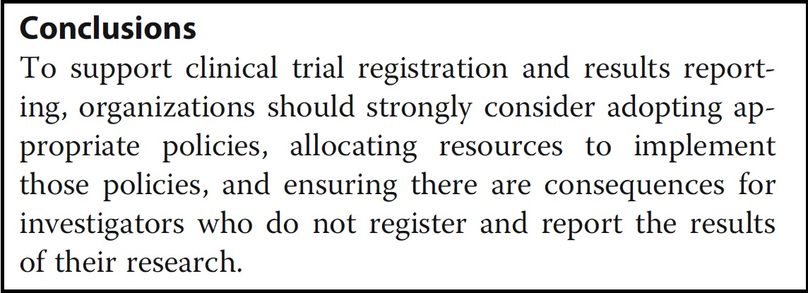 Most US universities still lack clinical trial registration and
