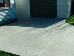 Plain concrete driveway