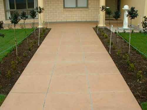 Terracotta Coloured Concrete Path
